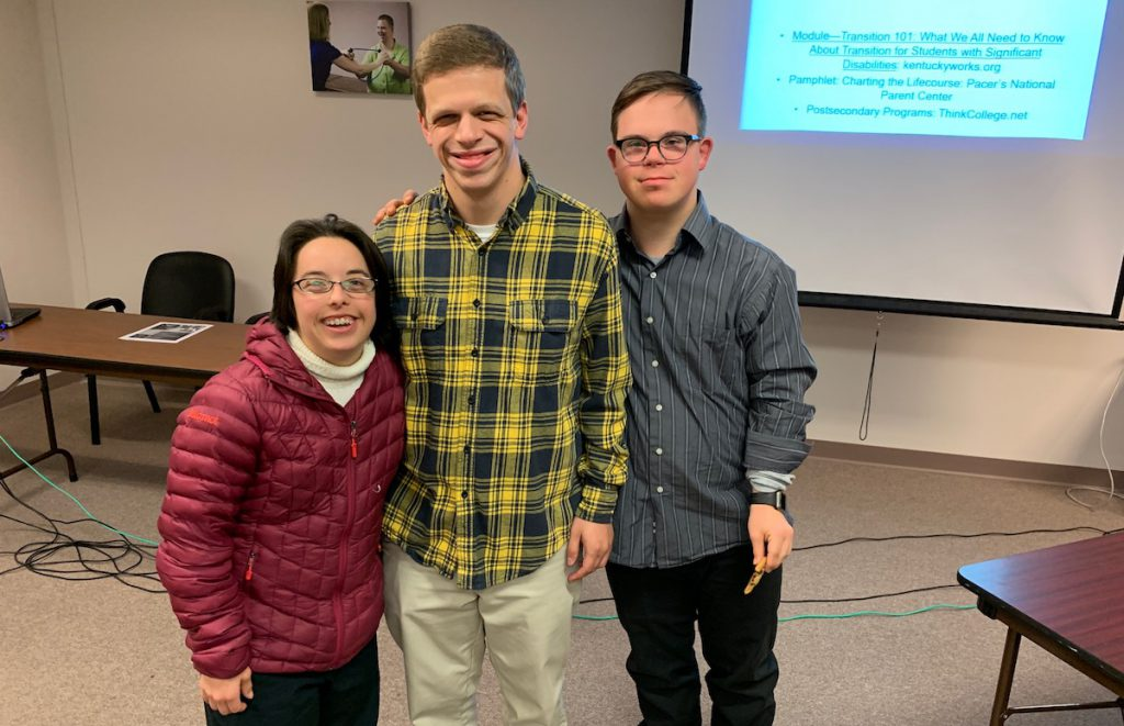 Megan McCormick, 30-years-old with Down syndrome; Clay Carroll, 22 years-old with Williams syndrome; and Andy Meredith, 19 years old with Down syndrome