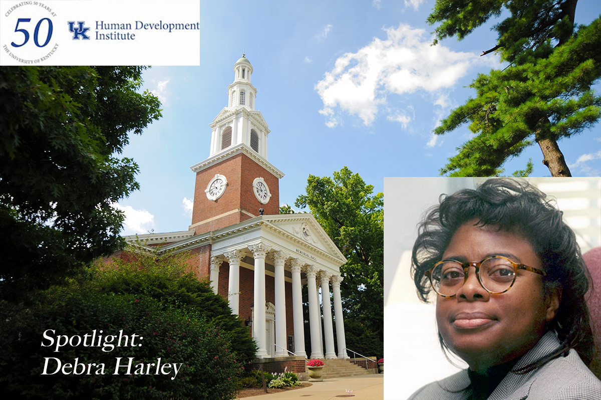 Image of Memorial Hall with the HDI 50th Anniversary logo, text that says Spotlight: Dabera Harley, and an overlaid image of a middle-aged African American woman