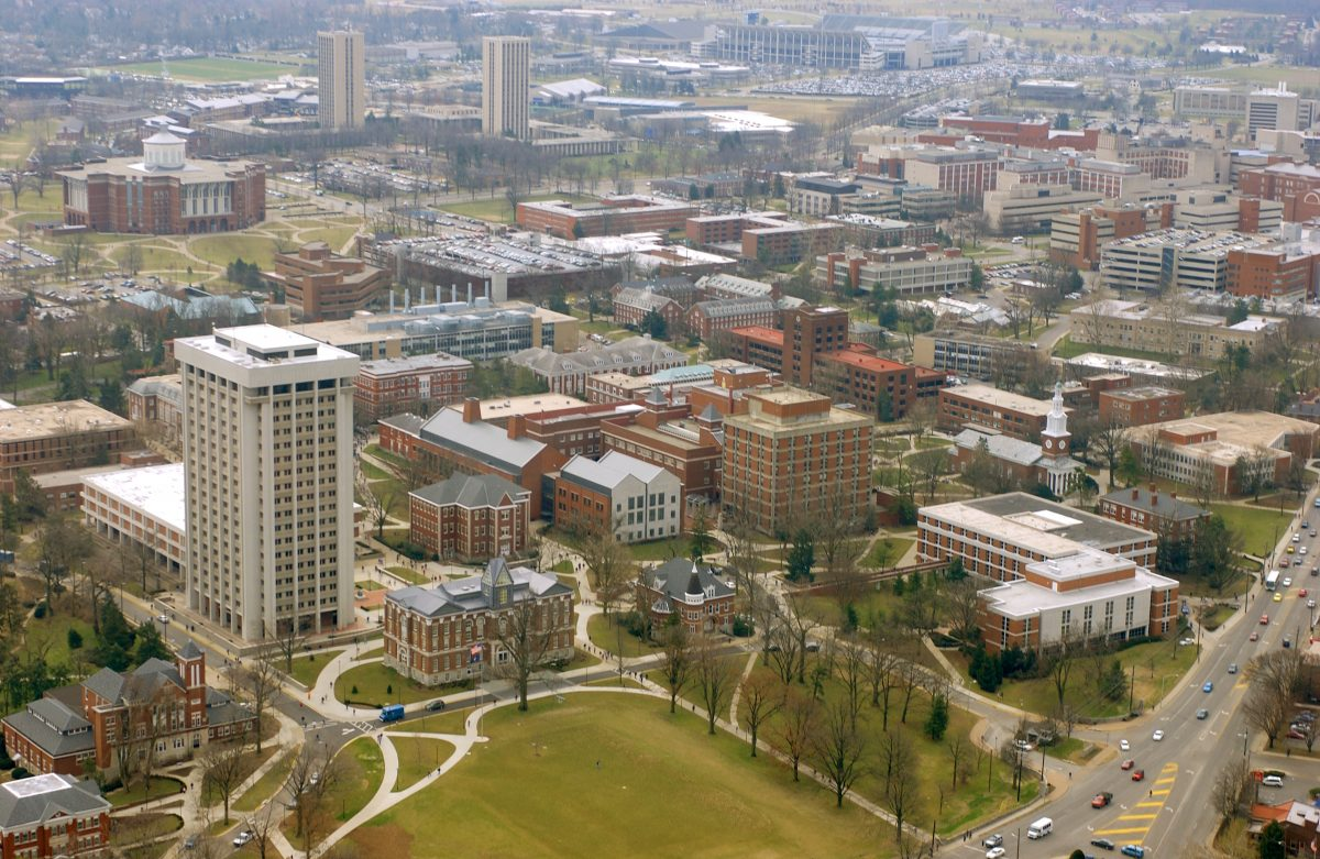 Aerial view of UK campus.