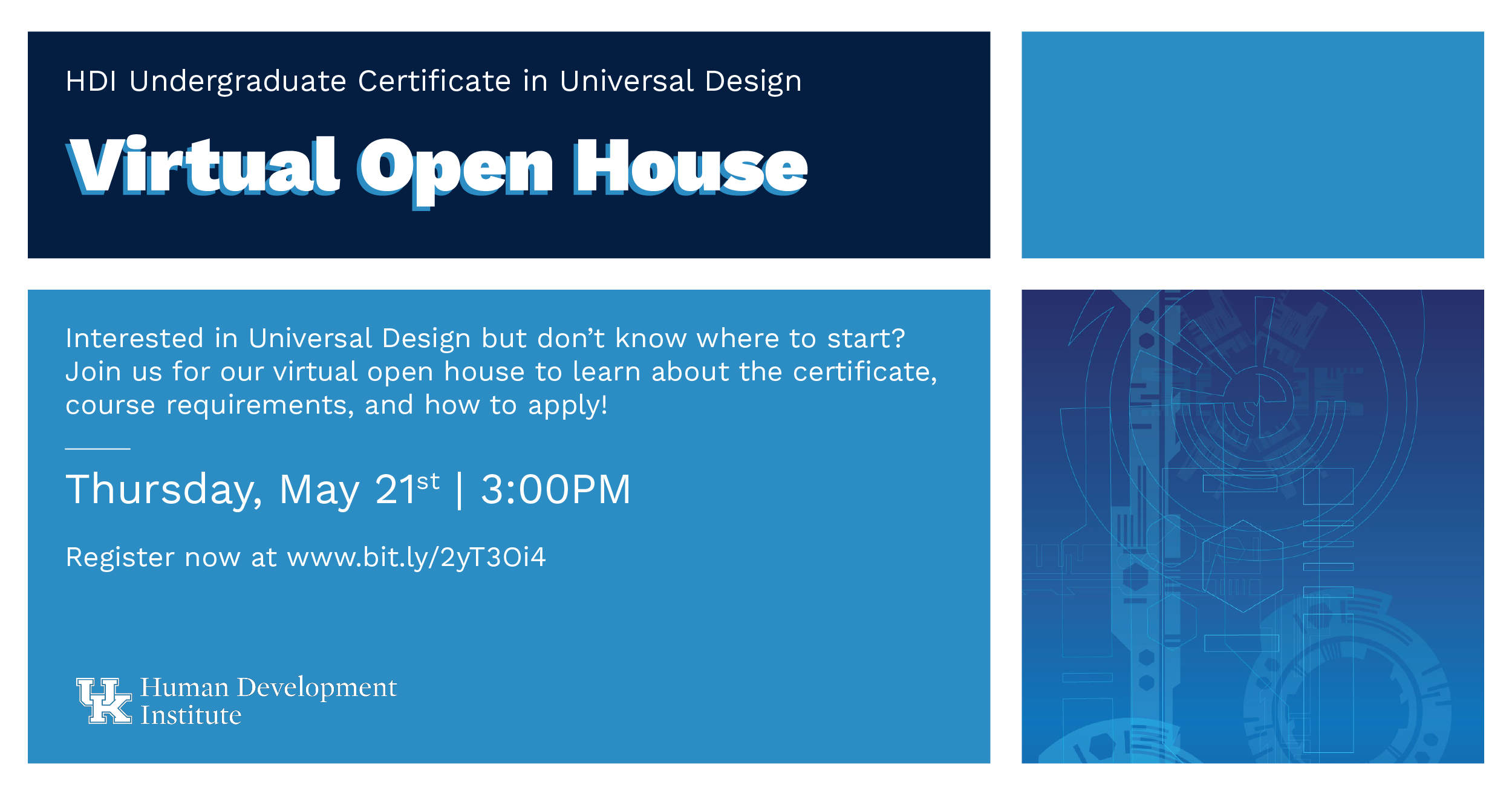 light, medium and dark blue text on a document announcing the Virtual Open House